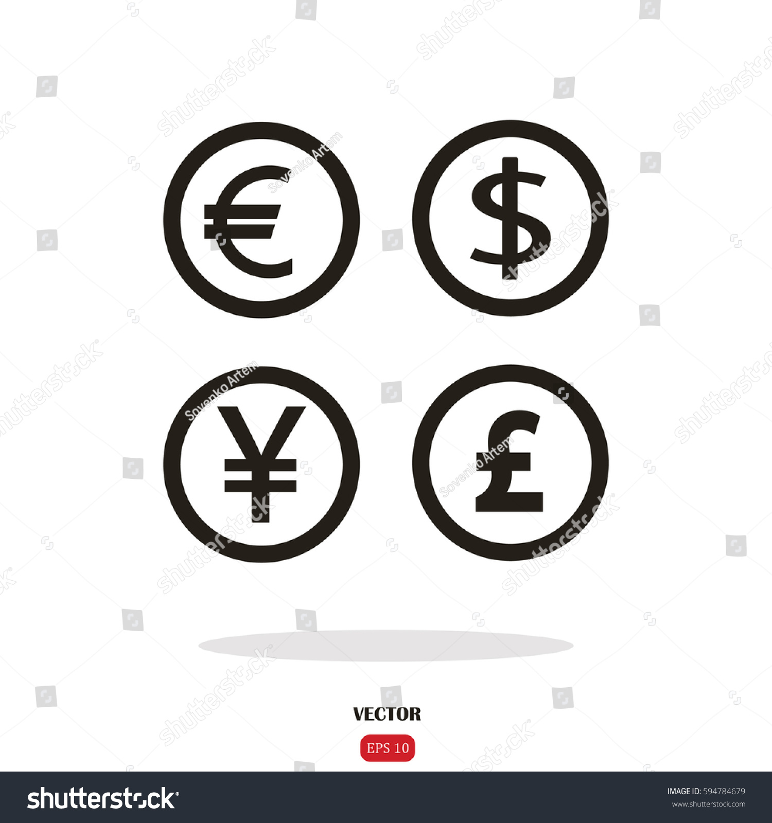 Dollar euro pound yen currency icons stock vector 594784679 dollar euro pound and yen currency icons usd eur gbp and biocorpaavc Gallery