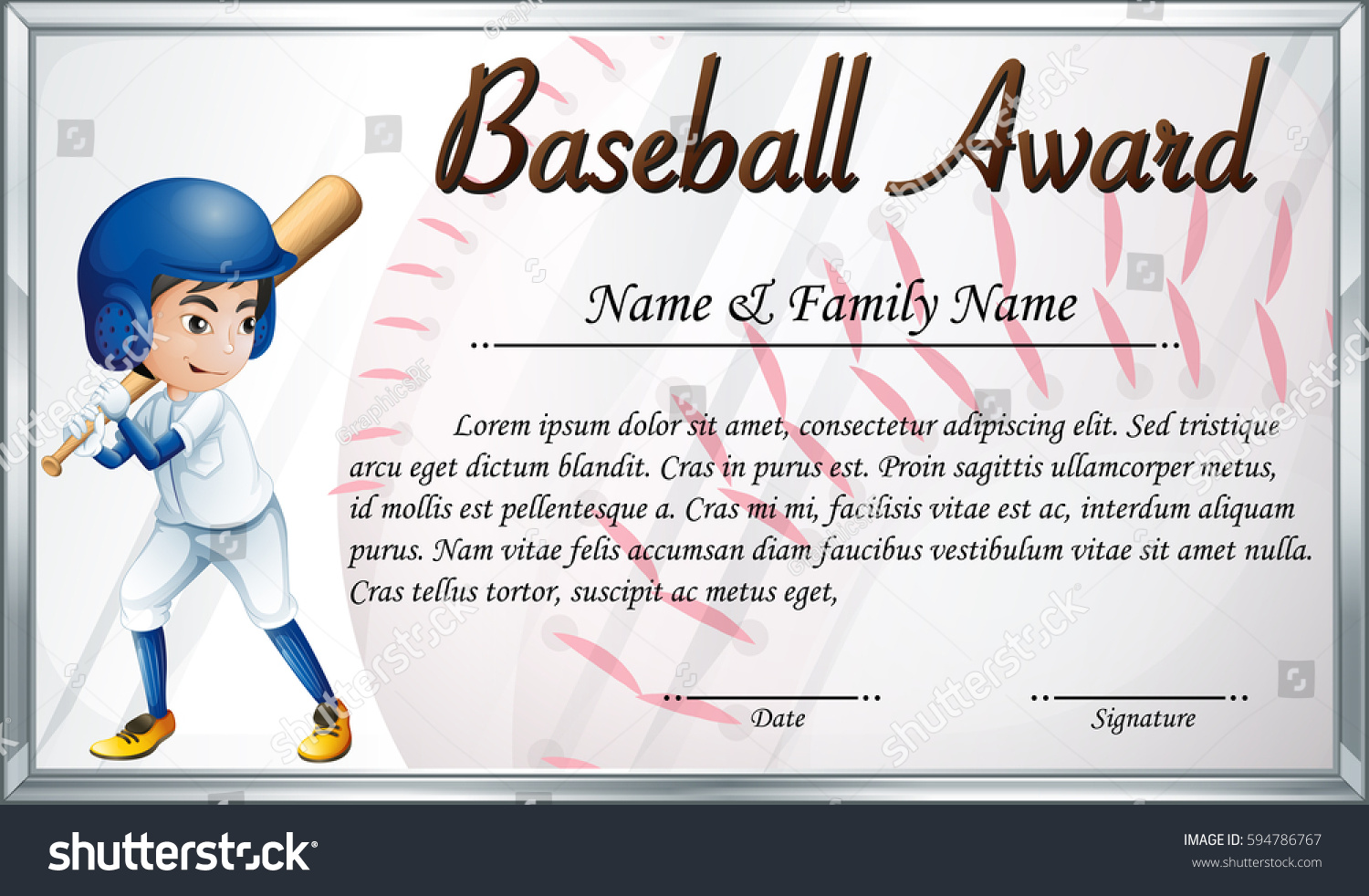Certificate template baseball award baseball player stock vector certificate template baseball award baseball player stock vector 594786767 shutterstock yadclub Image collections