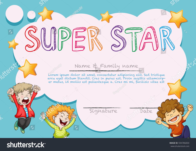 Super Star Award Template Kids Background Vector 594786830 – Star Student Certificate Template