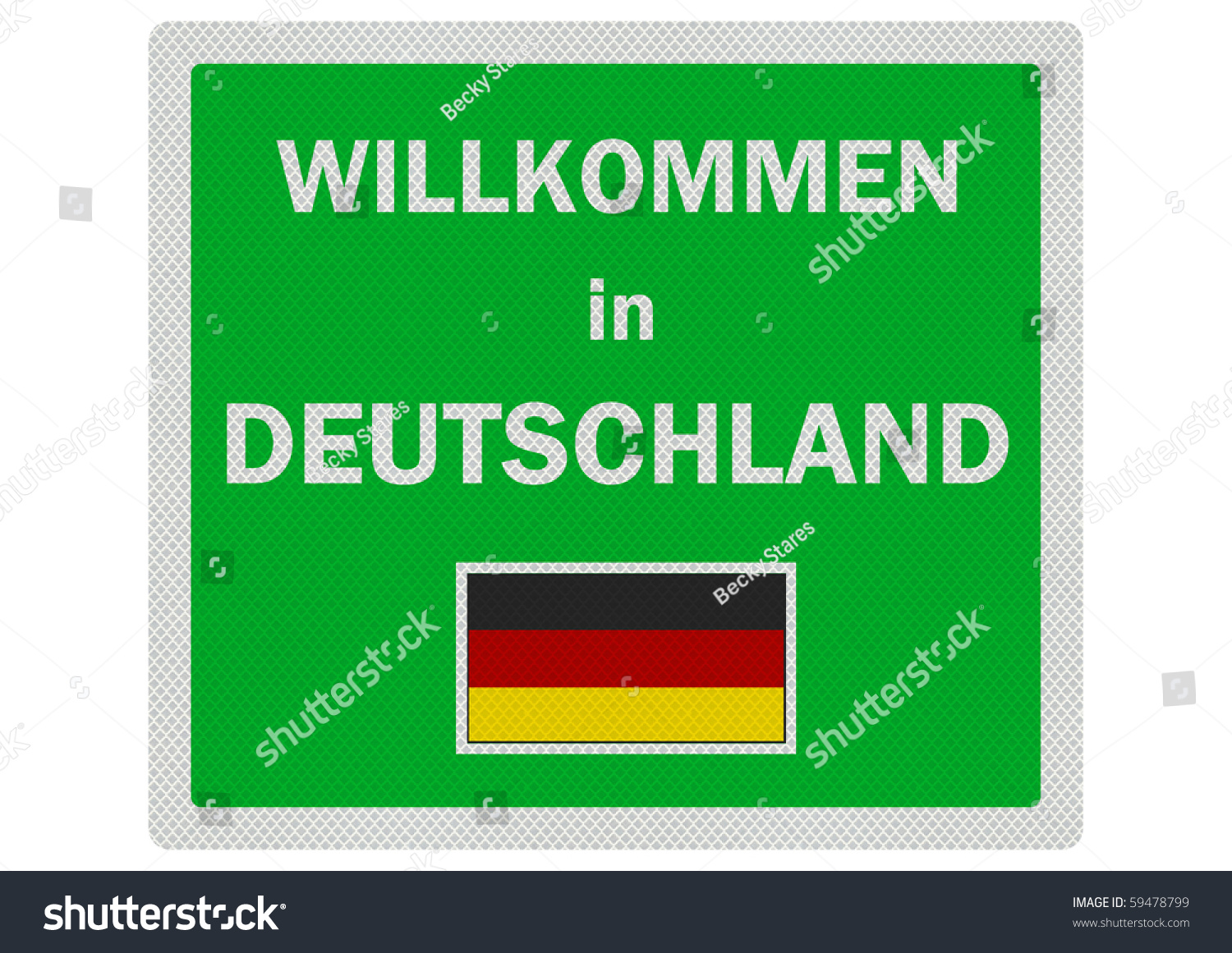 welcome to germany in german photo realistic sign