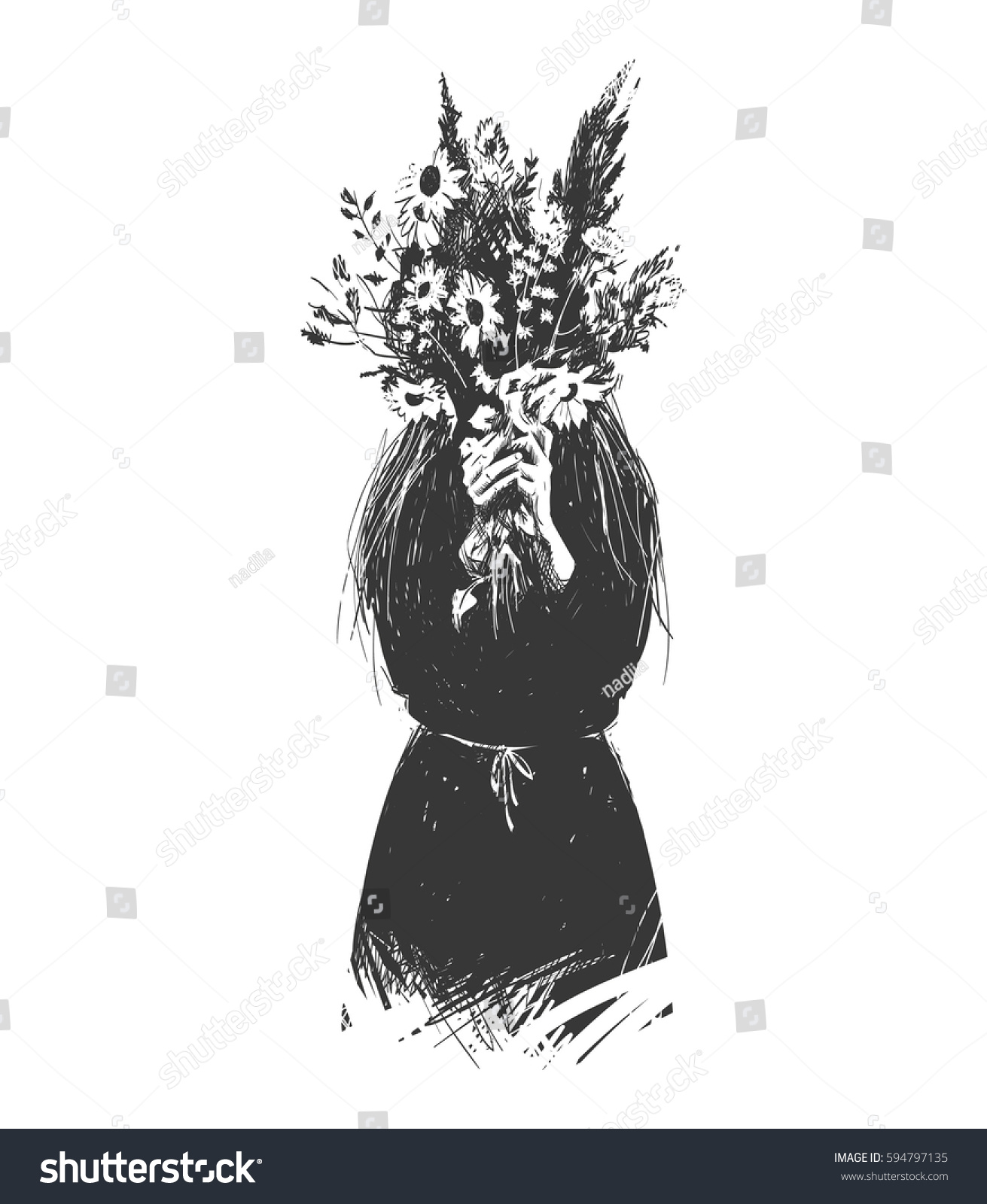 Girl Hides Behind Bouquet Flowers Can Stock Vector Royalty Free