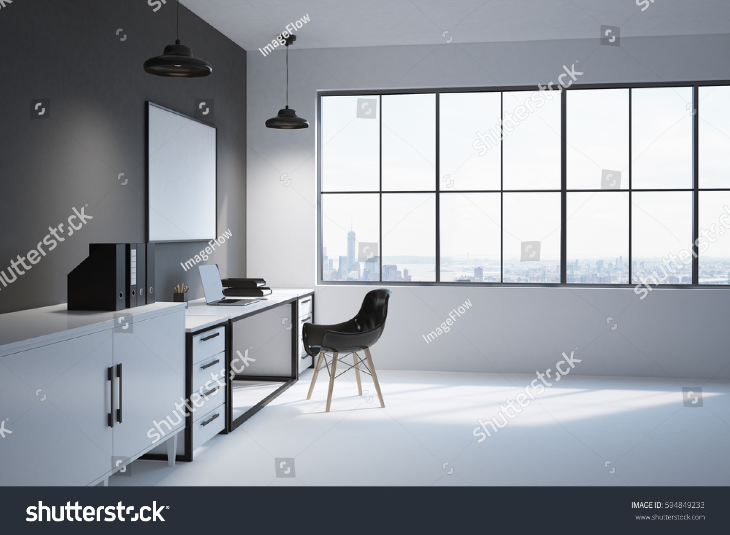 Side View Modern Workplace Home Office Stock Illustration 594849233 ...