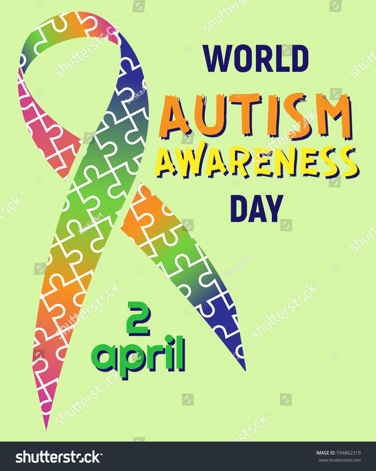 World autism awareness day ribbon puzzles stock vector 594862319 world autism awareness day ribbon puzzles vector colorful puzzles vector on tape symbol of biocorpaavc