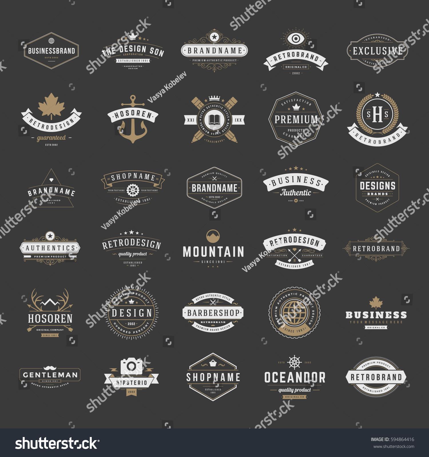 Vintage Logos Design Templates Set Vector Stock Vector (Royalty Free ...
