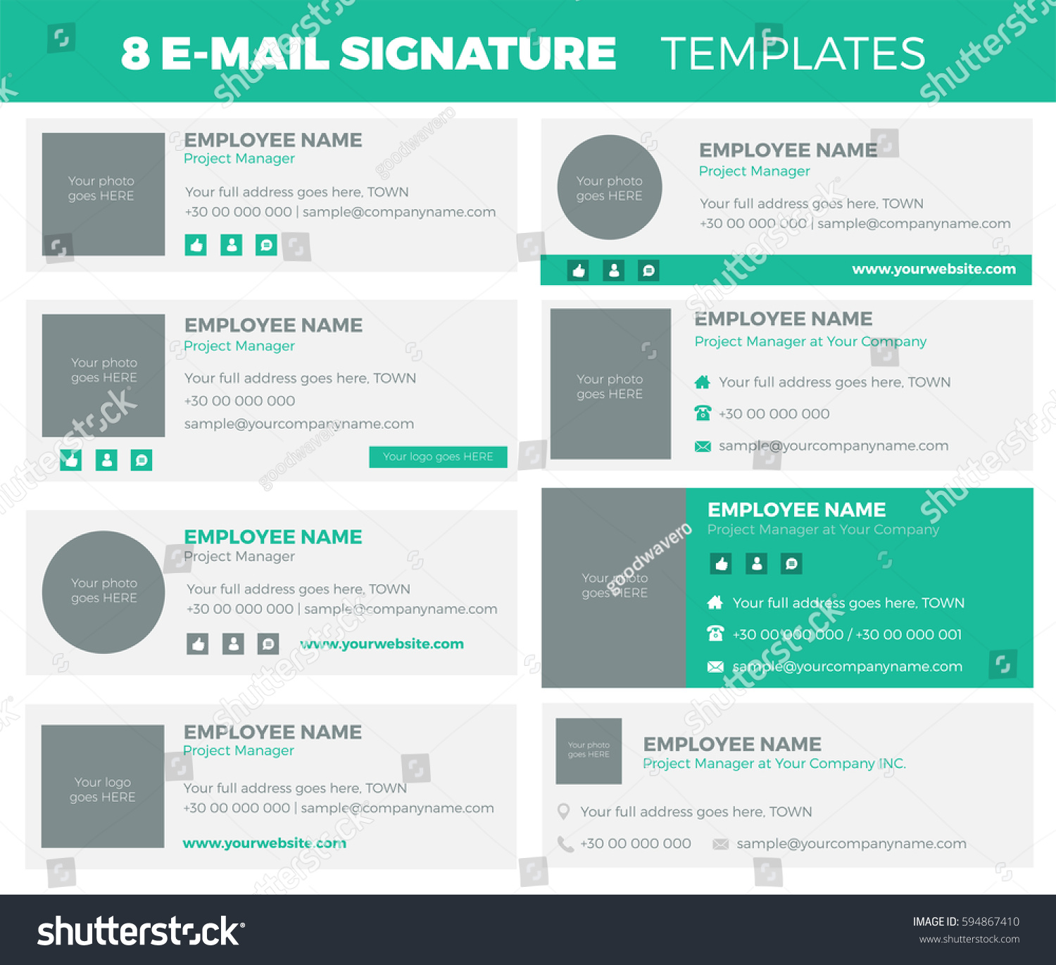 Set 8 flat modern email signature stock vector 594867410 for Modern email design