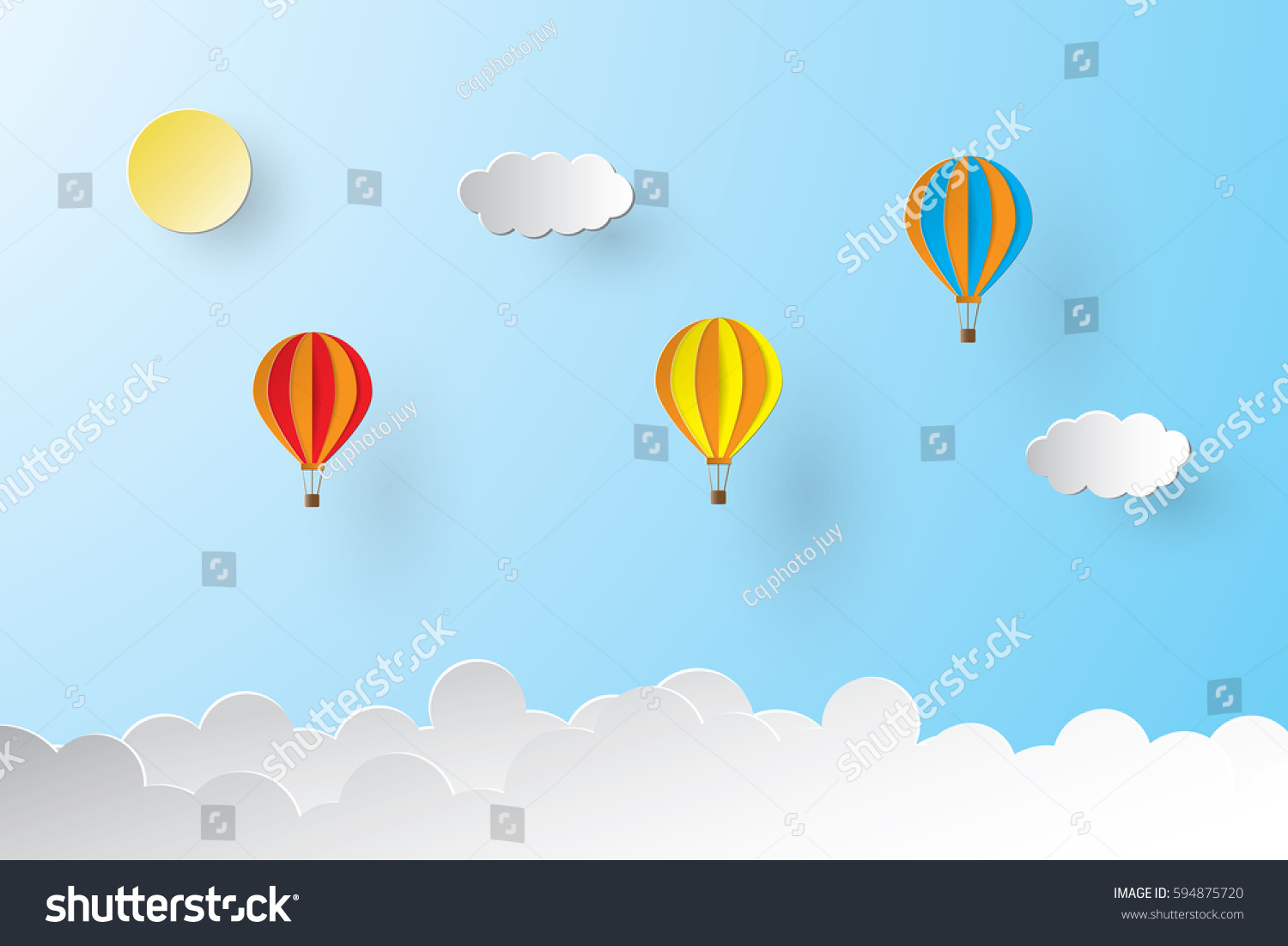 Origami made colorful hot air balloon stock vector 594875720 origami made colorful hot air balloon and cloud paper art style jeuxipadfo Choice Image
