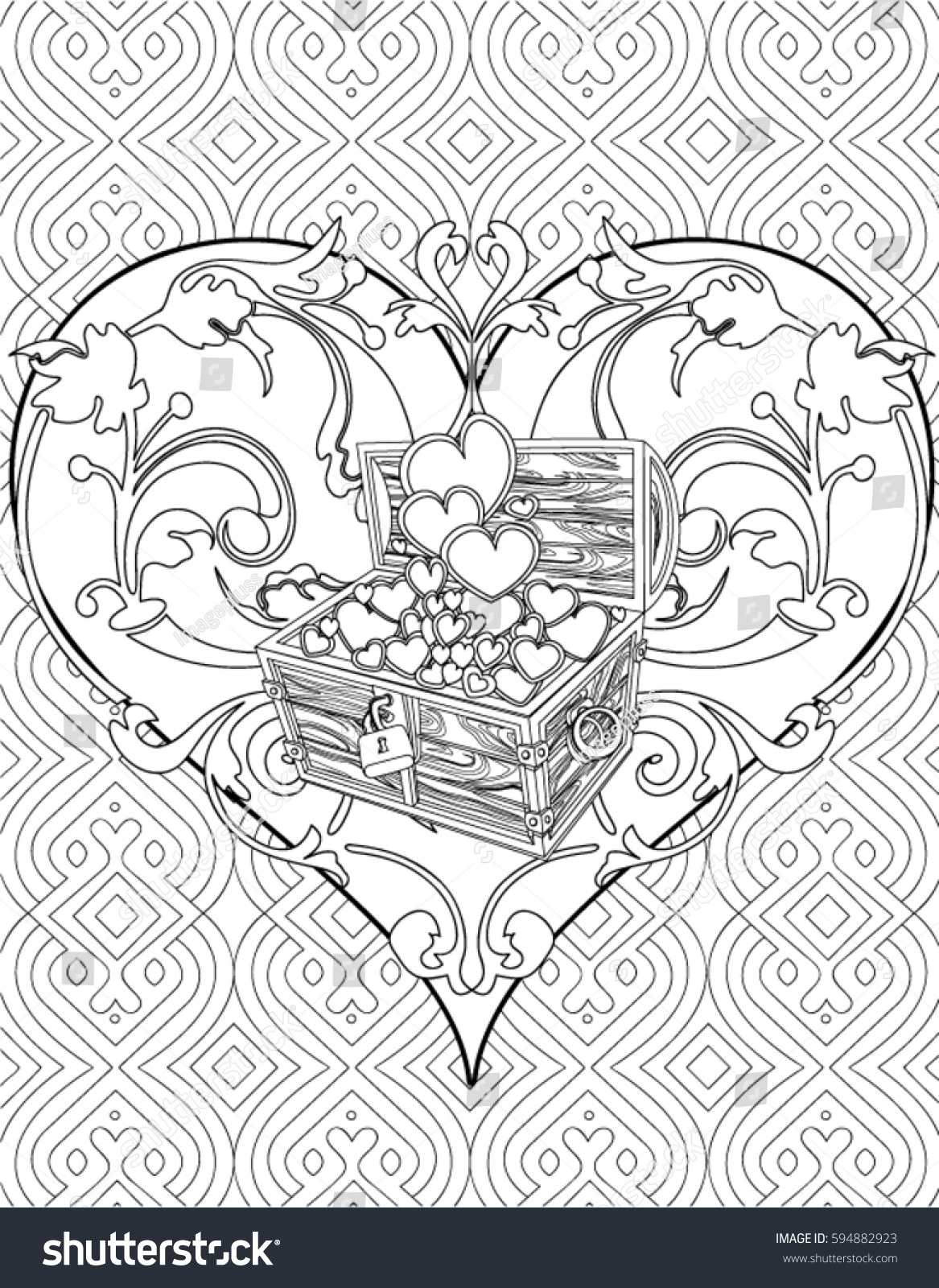 Heart Coloring Page Adult Stock Vector 594882923 - Shutterstock