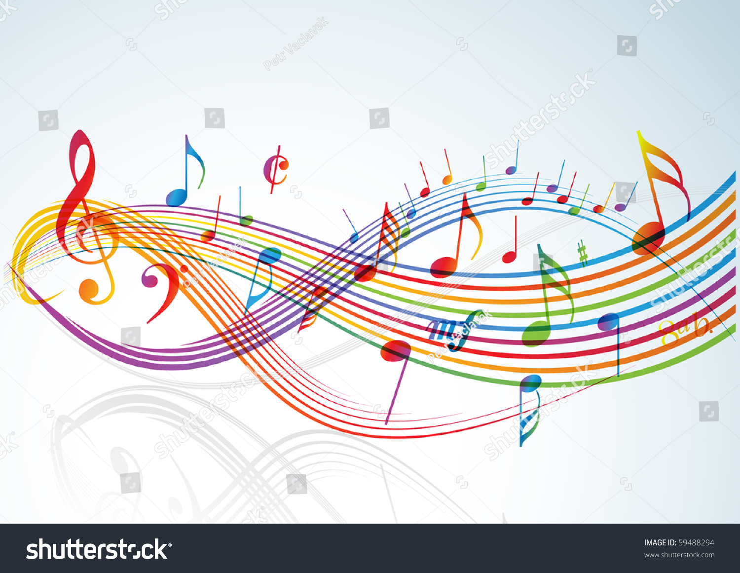 music theme rainbow notes on light background stock