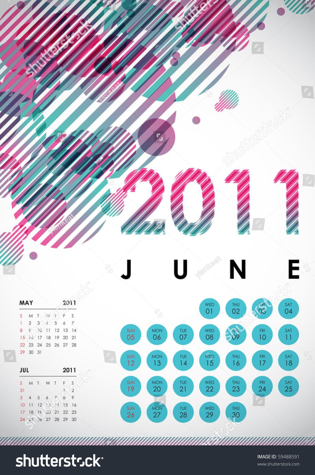 June Calendar Vector : June calendar design stock vector illustration