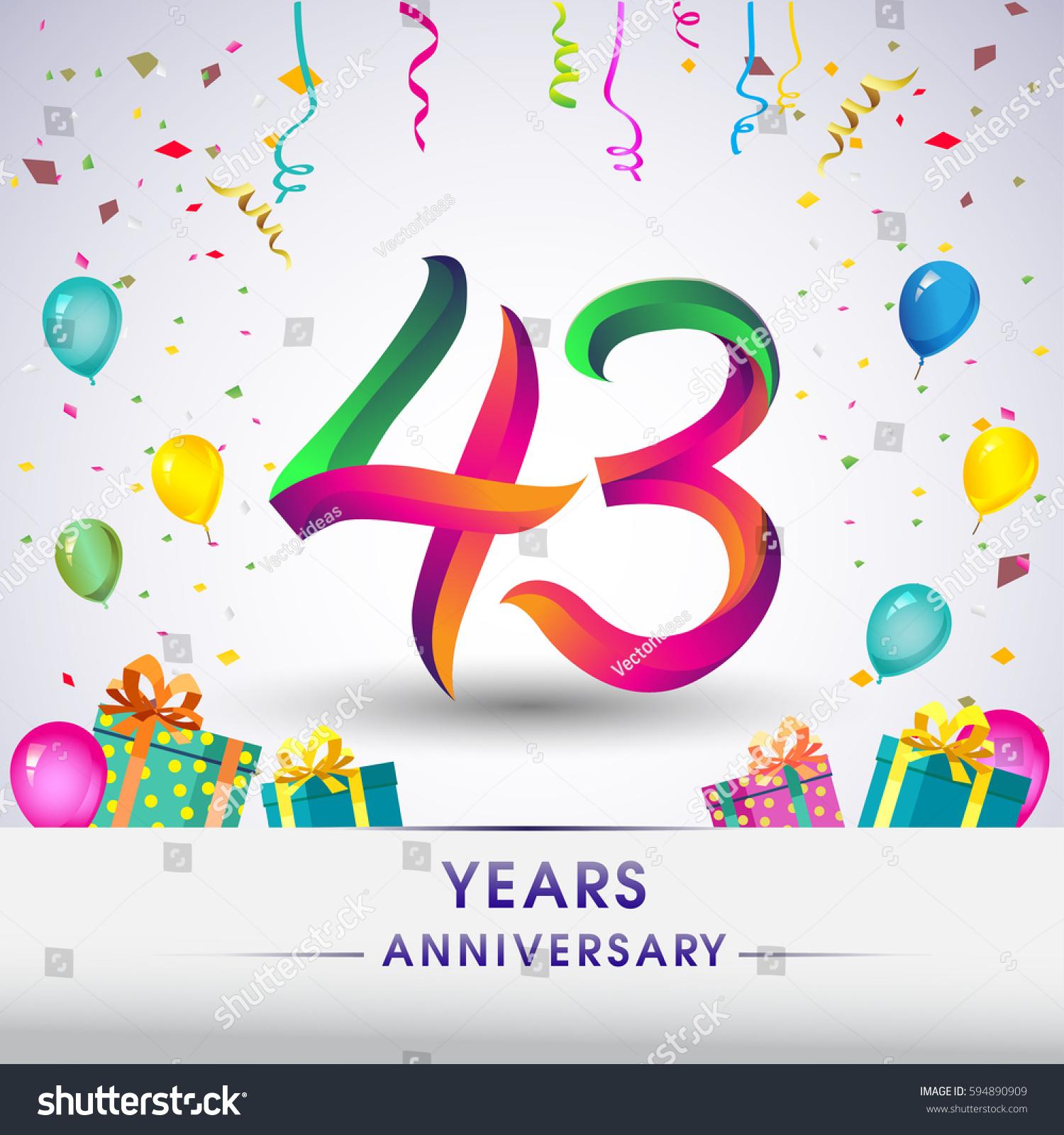 43rd Anniversary Celebration Design Gift Box Stock Vector Royalty