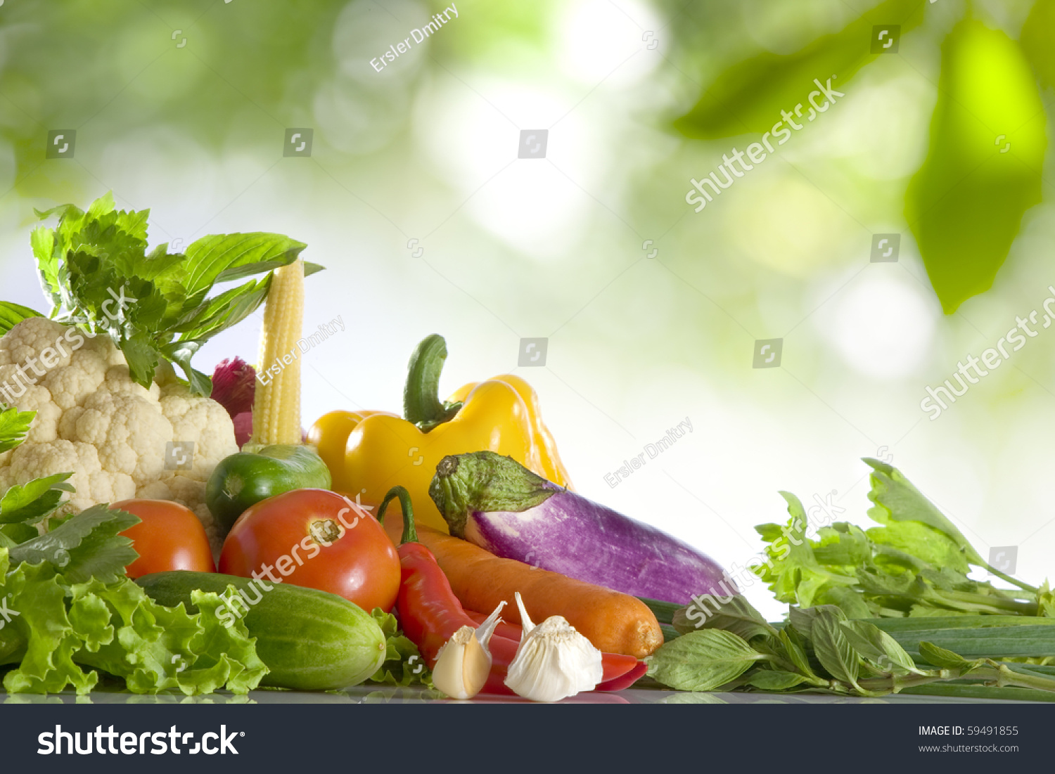 Close View Nice Fresh Vegetables On Stock Photo 59491855