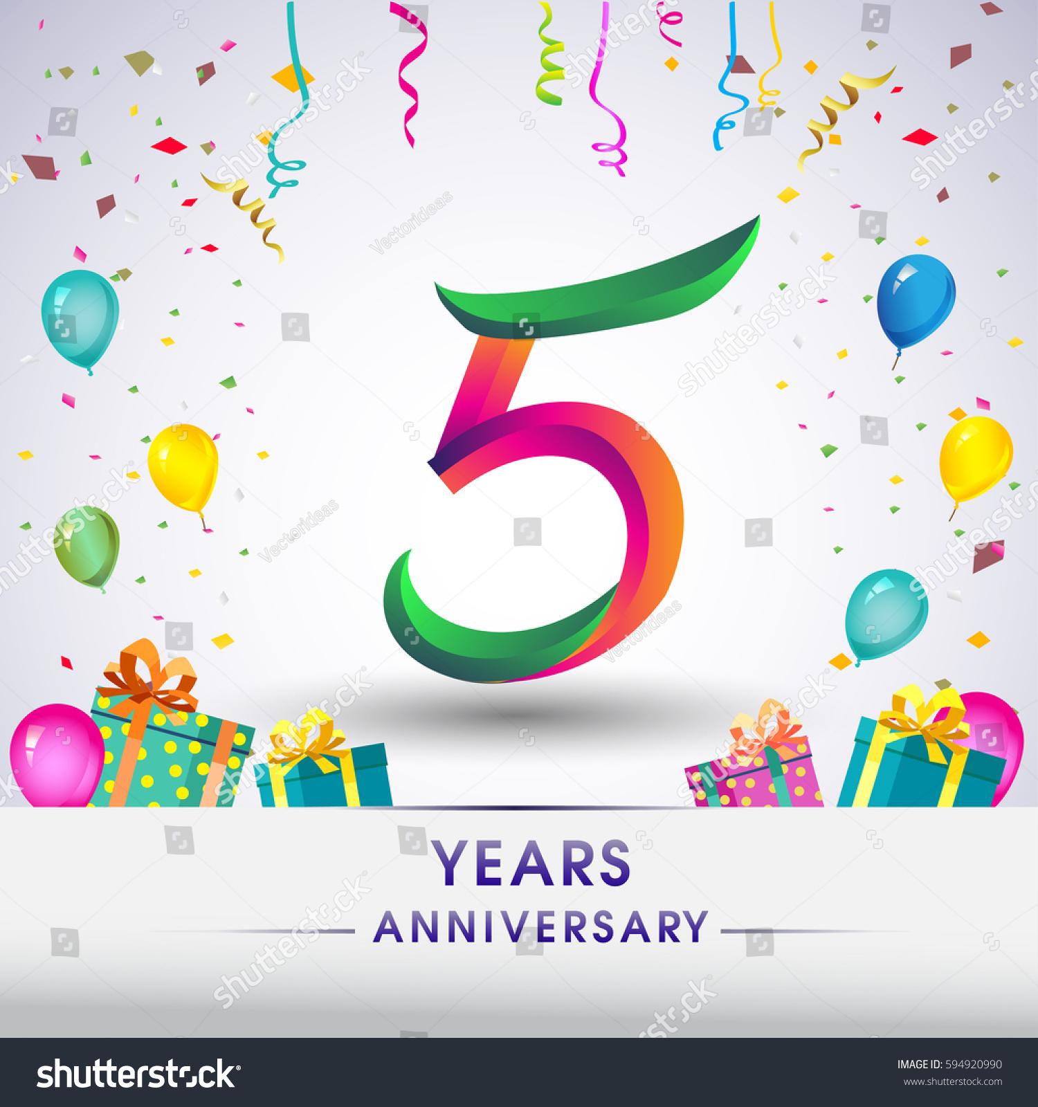 5th Anniversary Celebration Design Gift Box Stock Vector ...