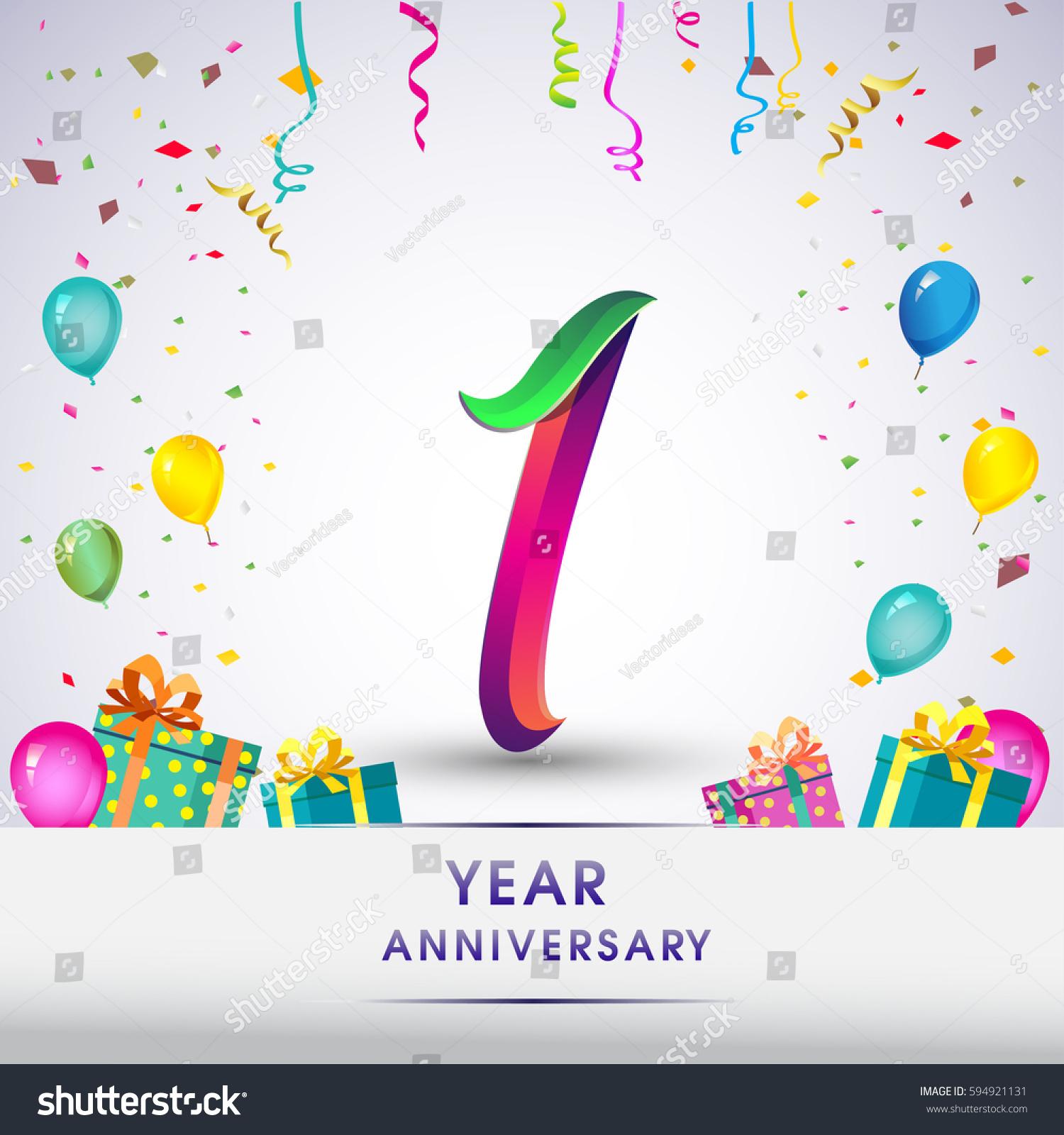 St anniversary celebration design gift box stock vector