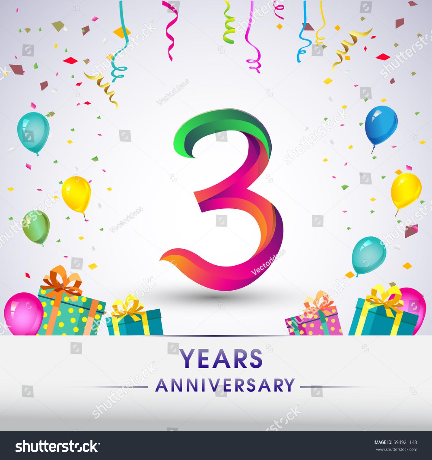 3rd Anniversary Celebration Design Gift Box Stock Vector