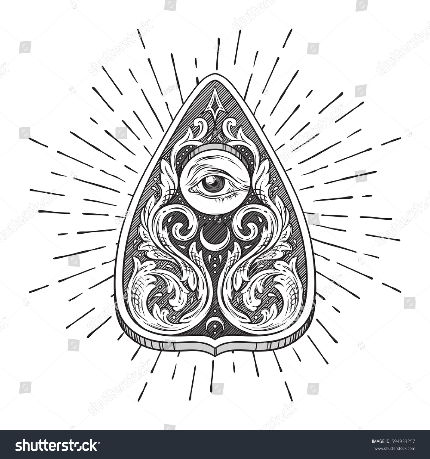 Hand Drawn Ouija Board Mystifying Oracle Stock Vector