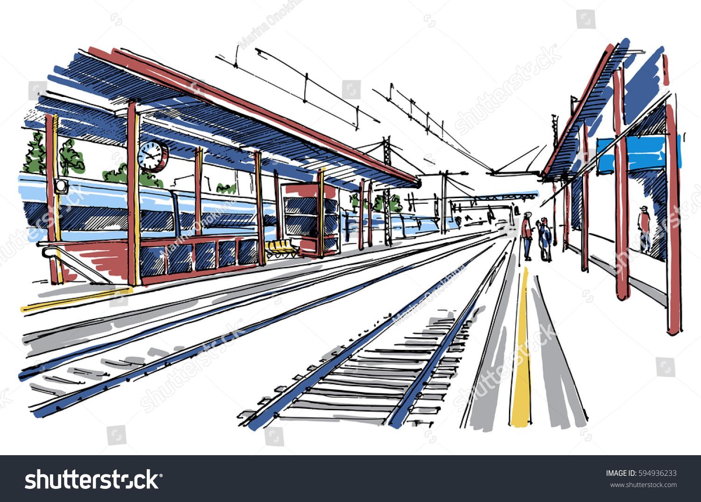 railway station sketch stock vector 594936233 shutterstock