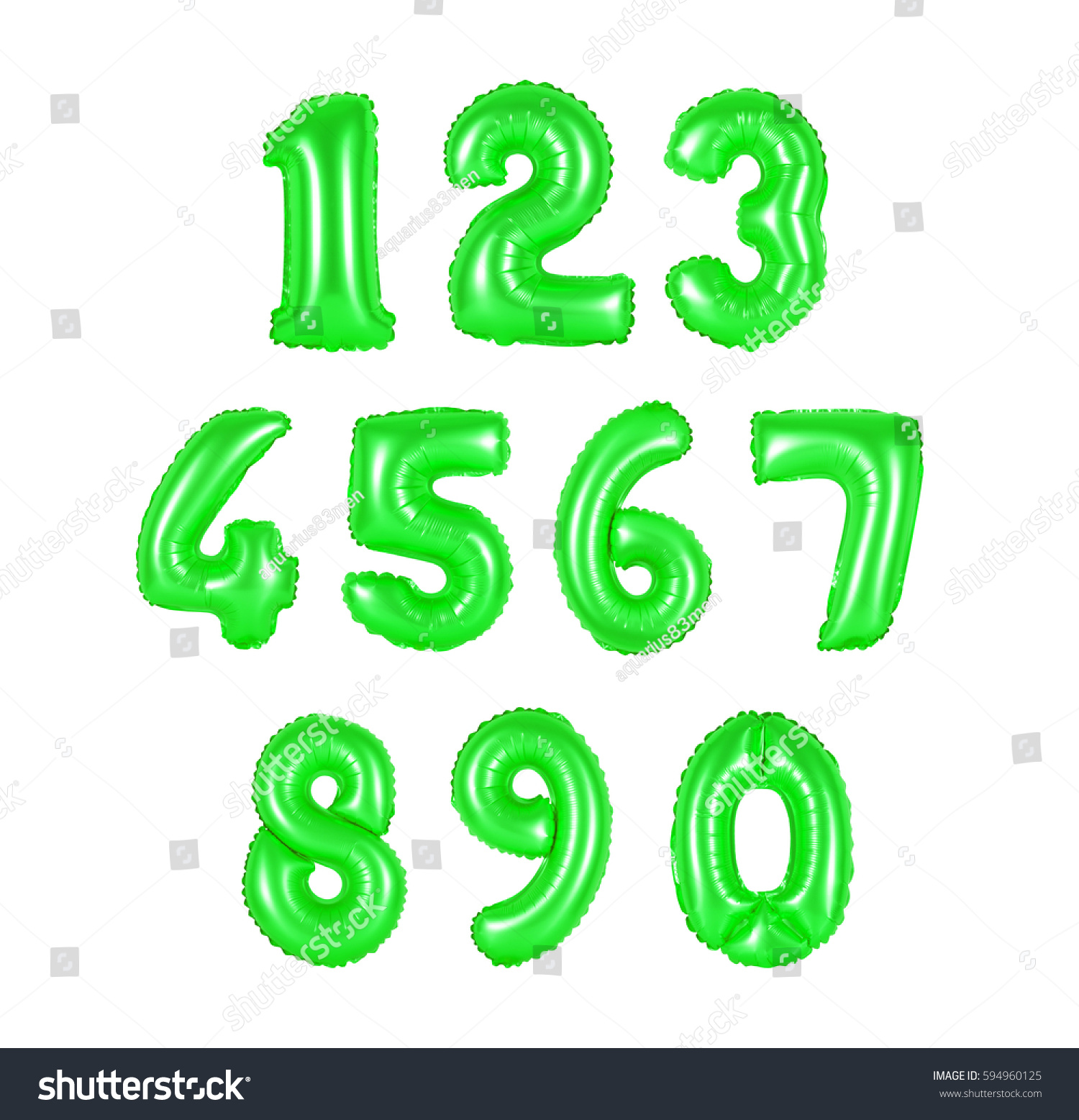 Numbers Green Color Balloons On White Stock Photo (Royalty Free ...