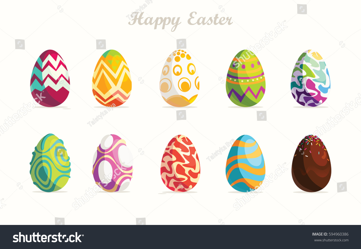 Happy Easter.Set of Easter eggs with different texture on a white background.Spring holiday. Vector Illustration.Happy easter eggs #594960386
