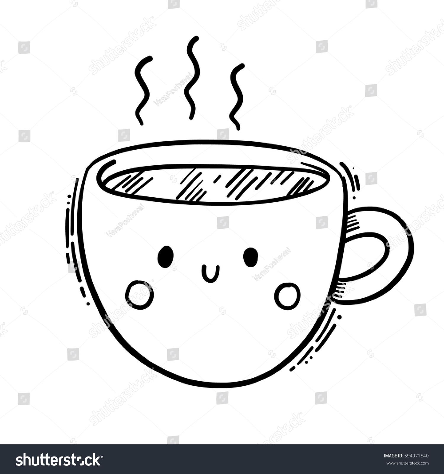 Cute Isolated Vector Line Illustration Mug Stock Vector Royalty Free 594971540