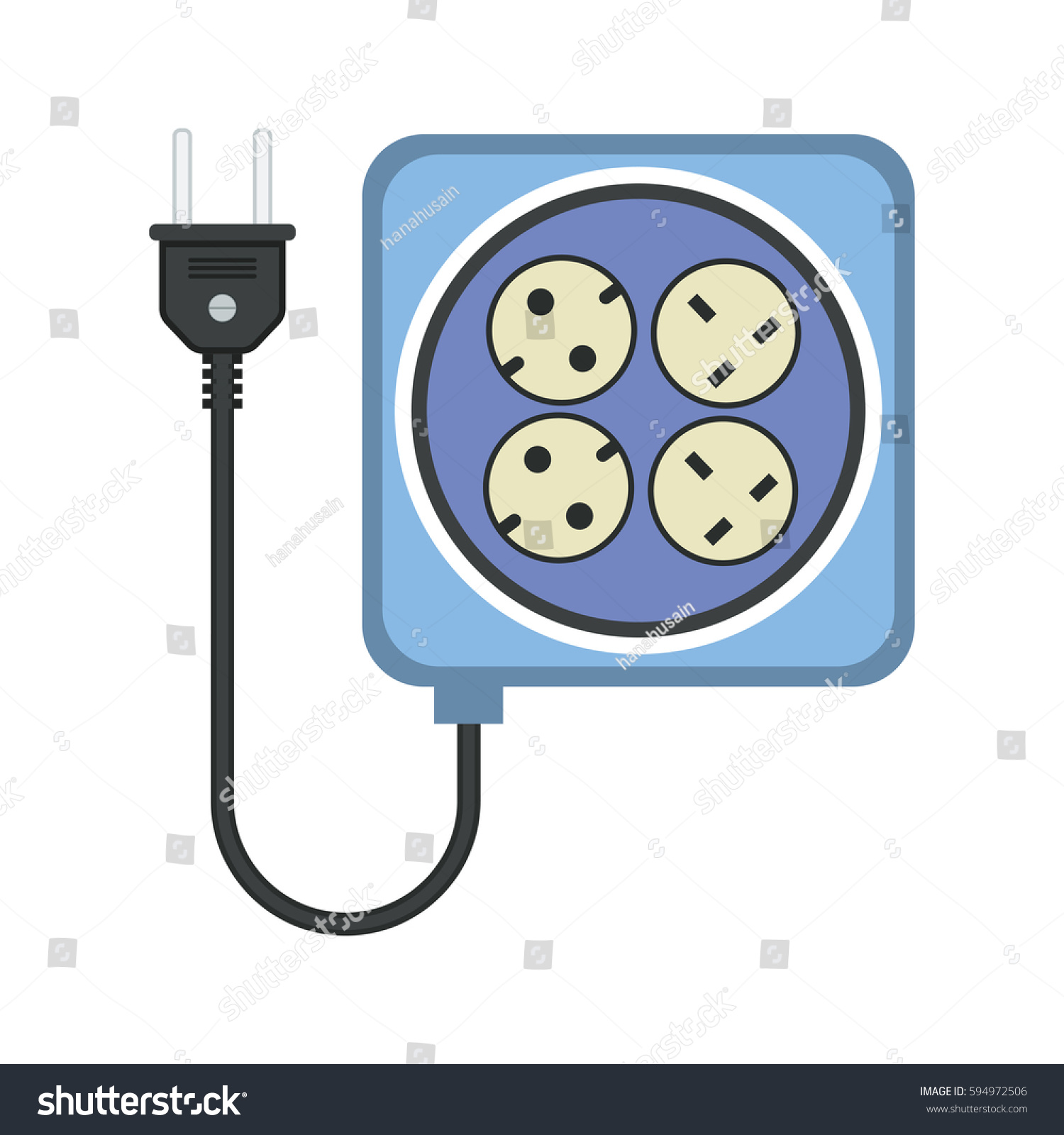 extension cord lead icon flat vector