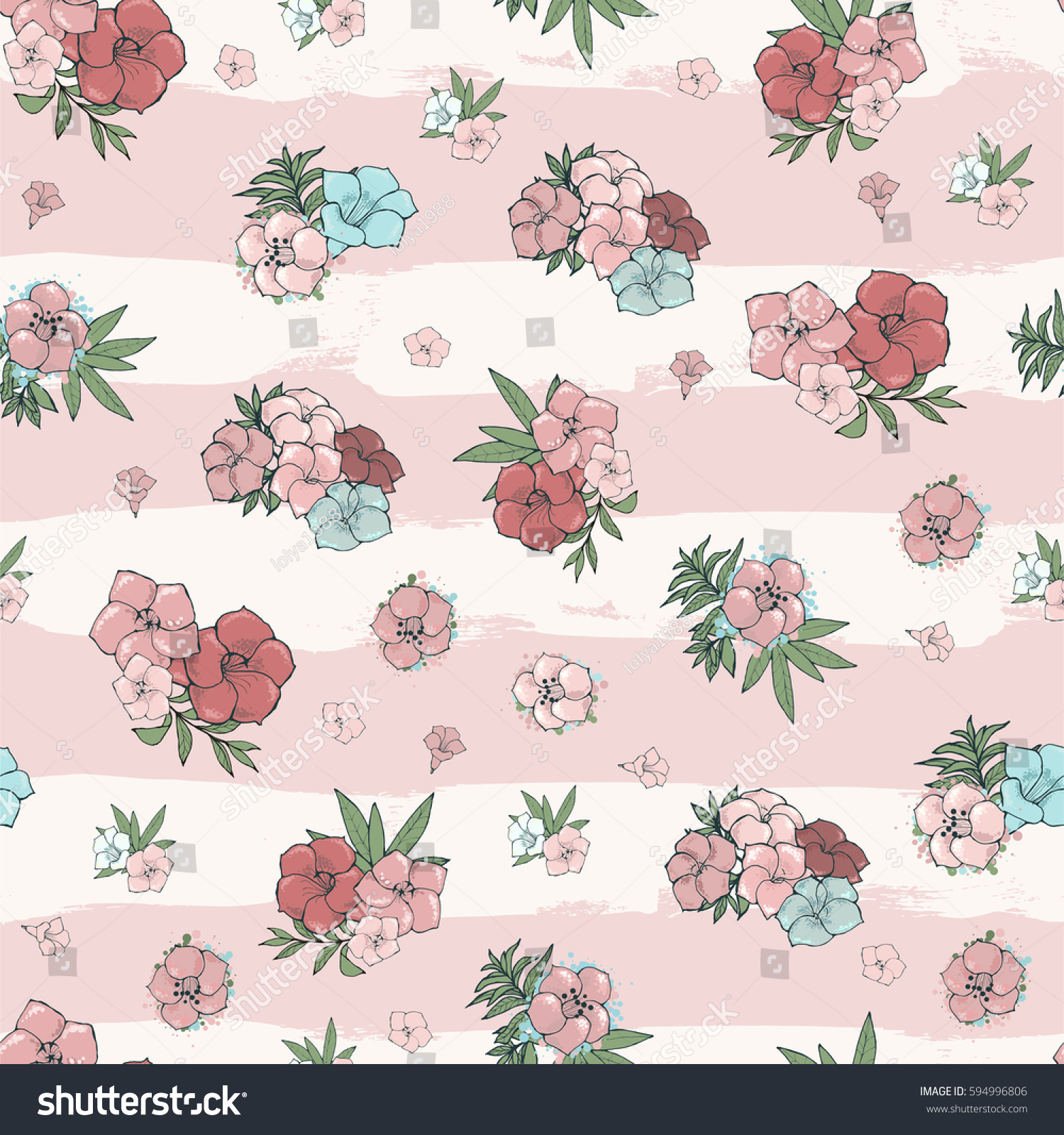 Vector Seamless Pattern Exotic Pink Blue Stock Vector 2018