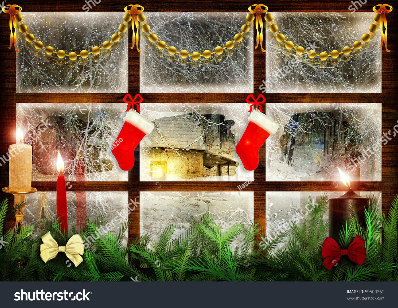 Idyllic View Through Window Snowy Night Stock Illustration