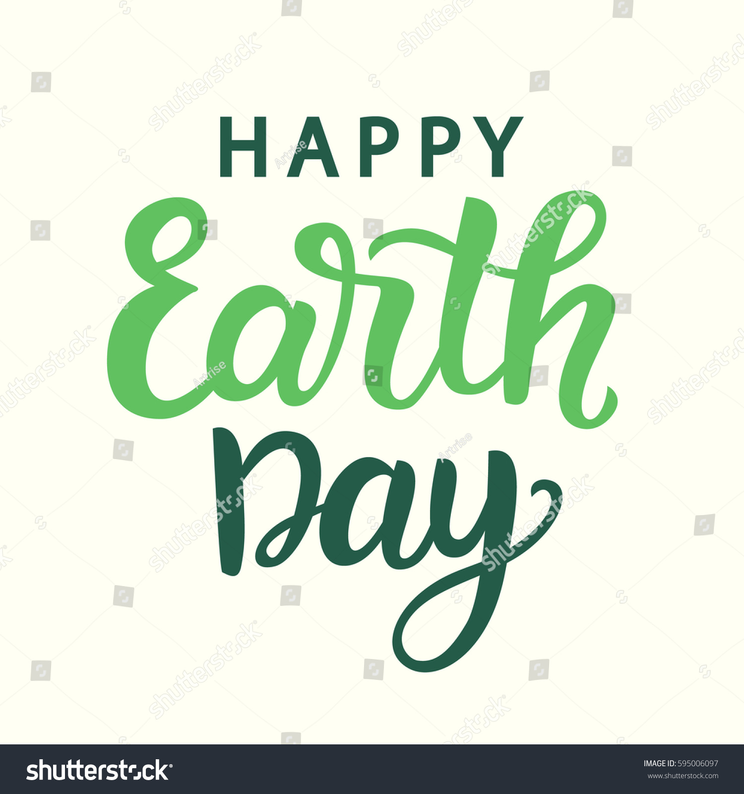Happy earth day poster hand written stock vector