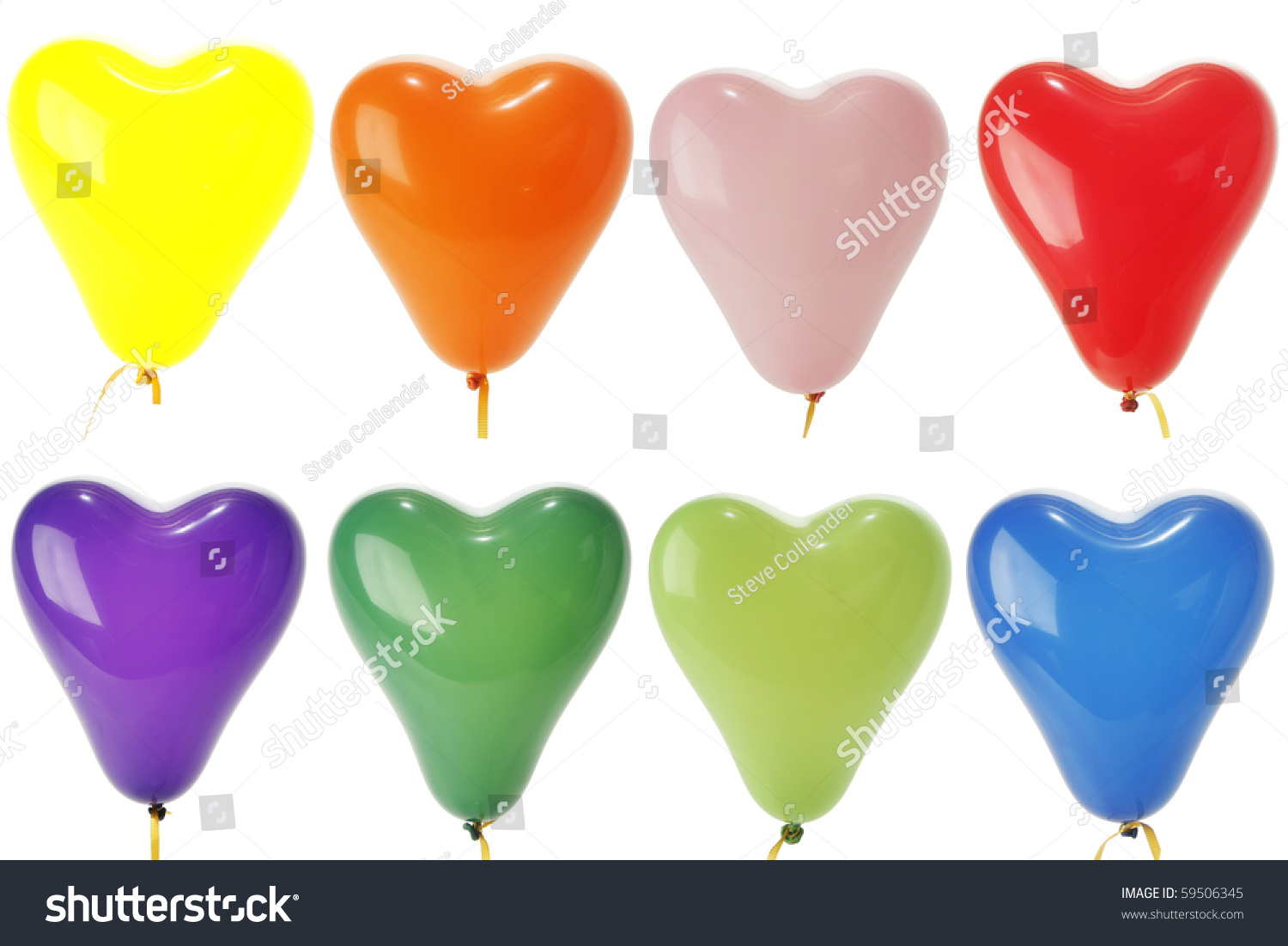 Green and blue balloons - Colorful Heart Shape Balloons Yellow Red Orange Blue Green Pink