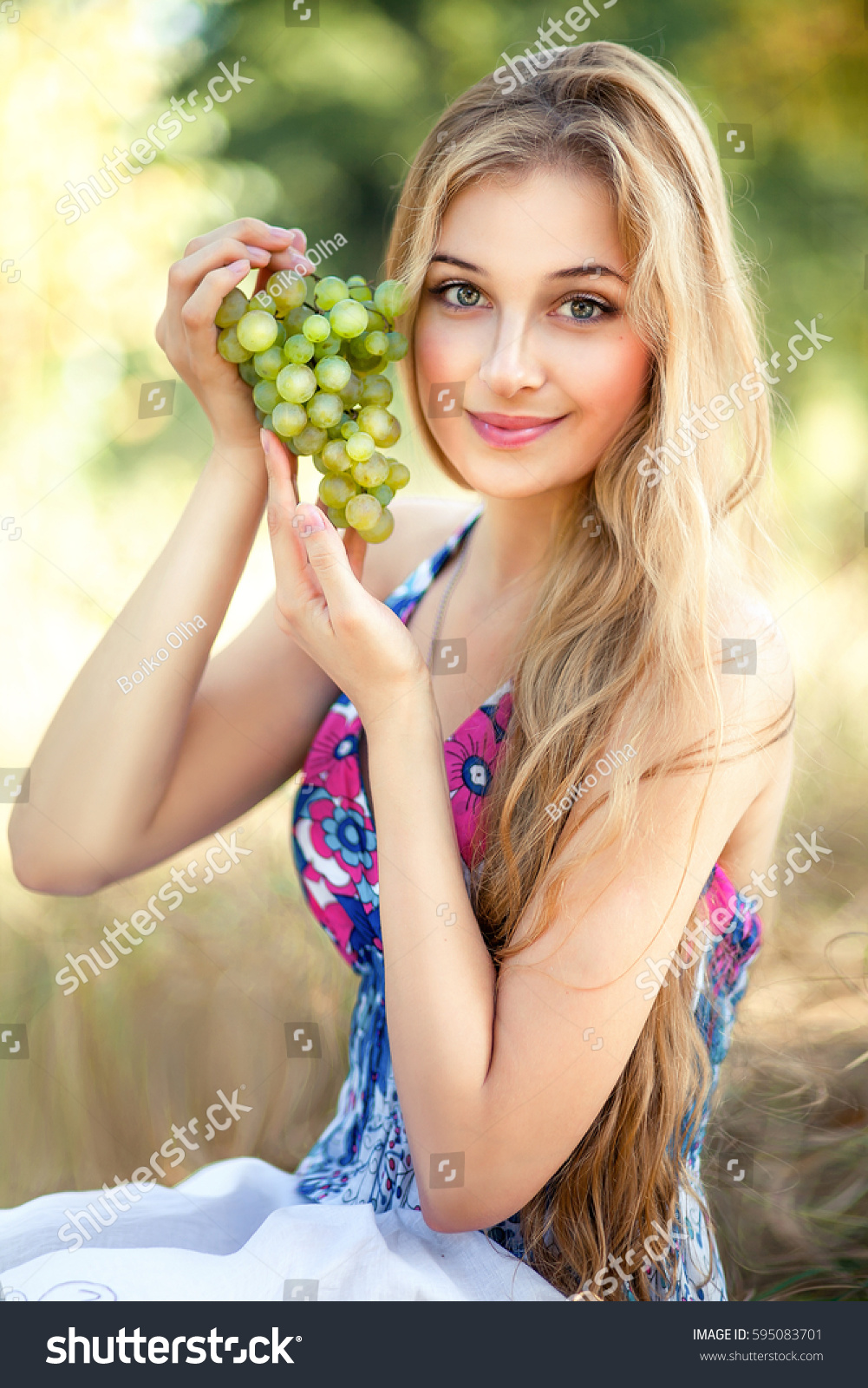 Beautiful Young Girl Blonde Long Curly Stock Photo