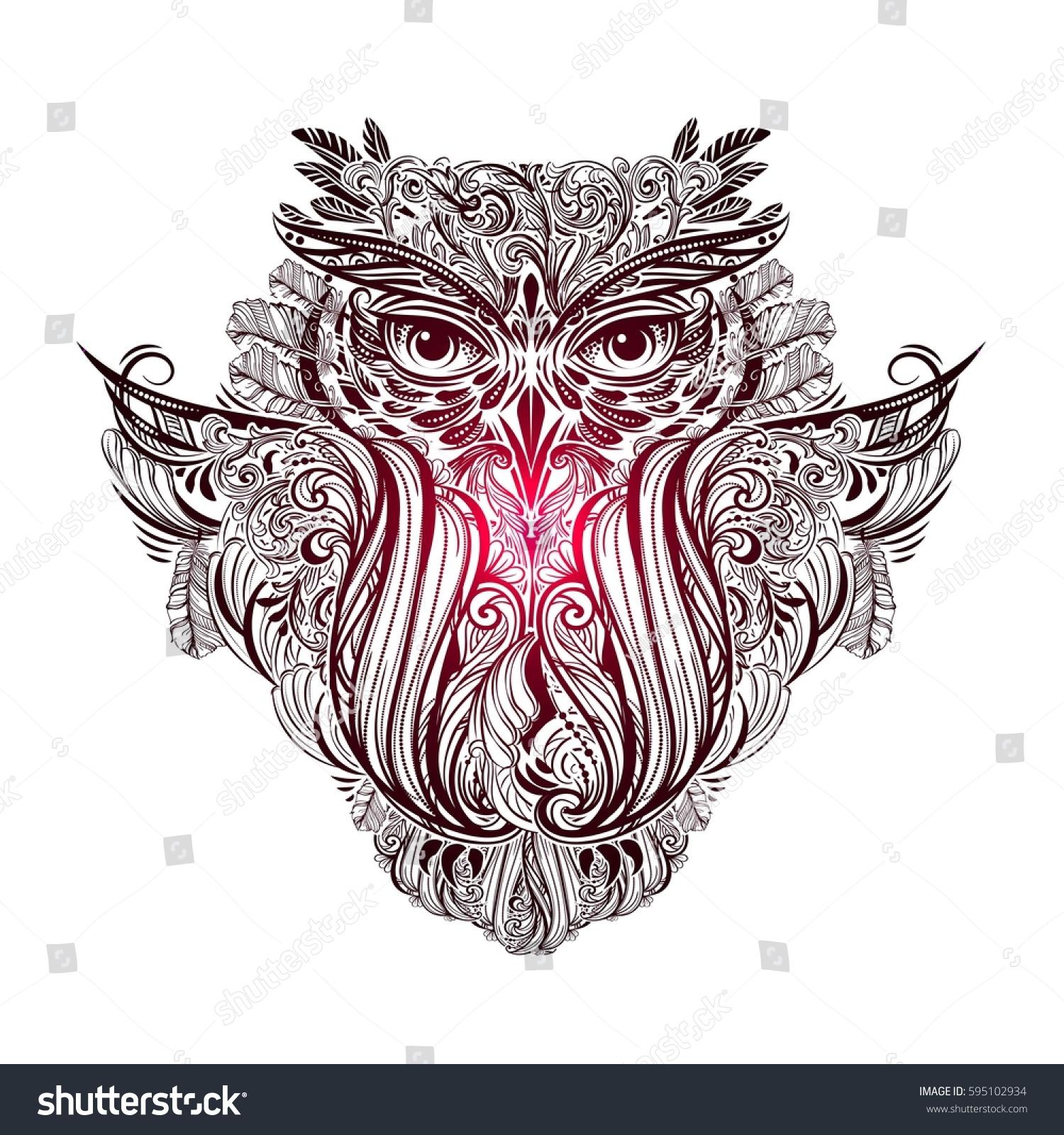 Buho Tatuaje Mandala vector de stock (libre de regalías) sobre dibujó a mano