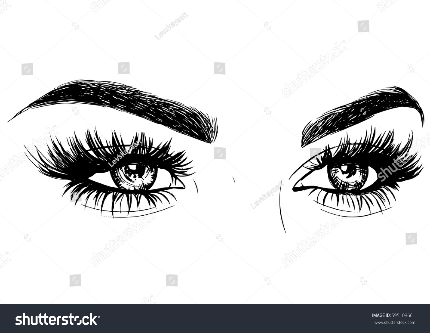 Fashion Sexy Woman Eyes Makeup Stock Vector Royalty Free 595108661
