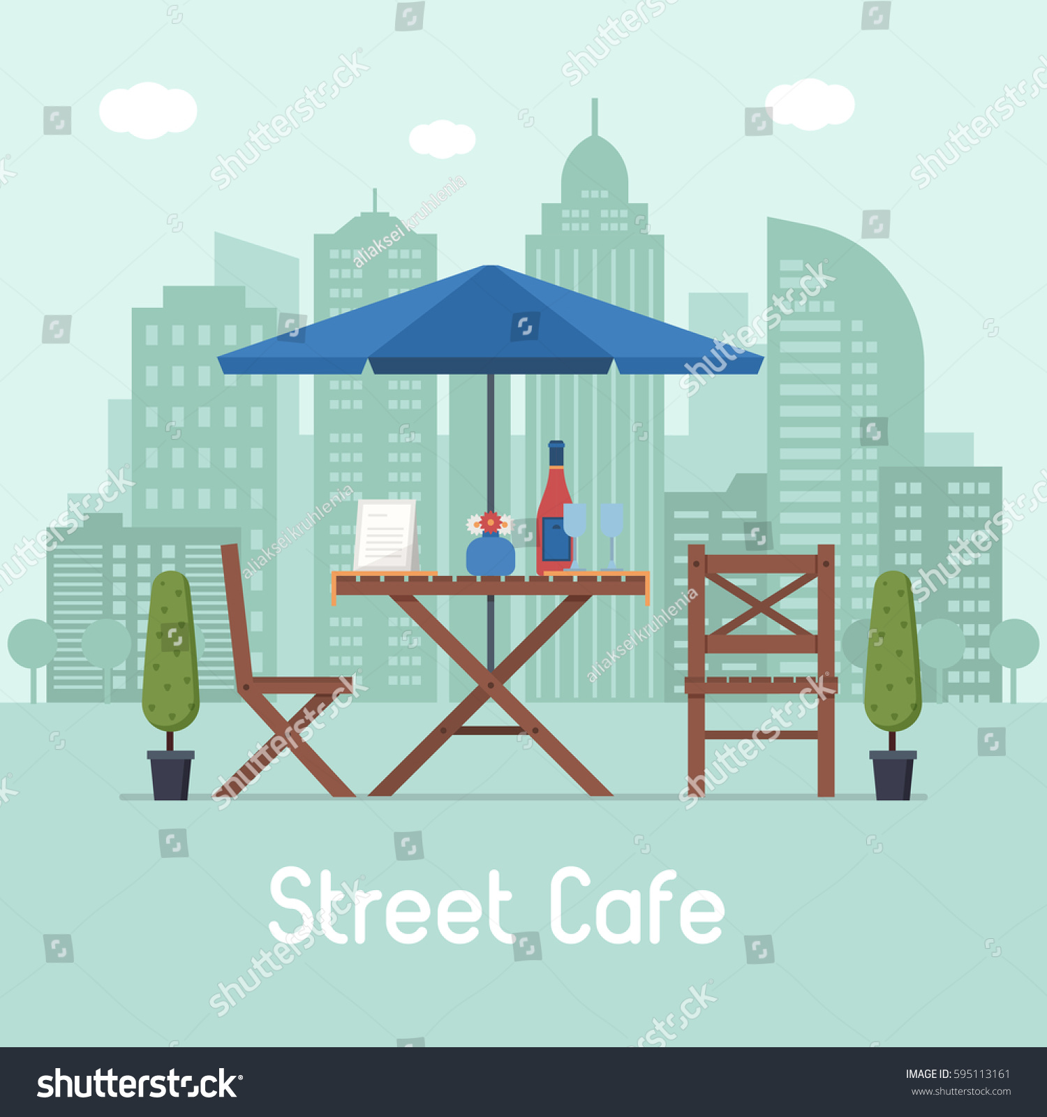 Outdoor cafe in paris with tower in background - Summer Outdoor Cafe Terrace With Seats Under Parasol On Modern City Background Street Restaurant Scene