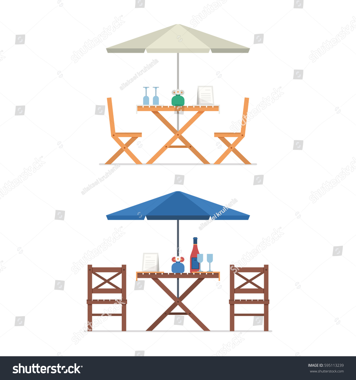 Outdoor Table Chairs Under Parasol Menu Stock Vector Royalty Free