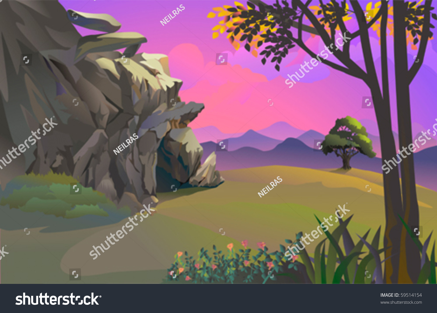 Cavemans Rocky Cave Beautiful Hillside Landscape Stock Vector