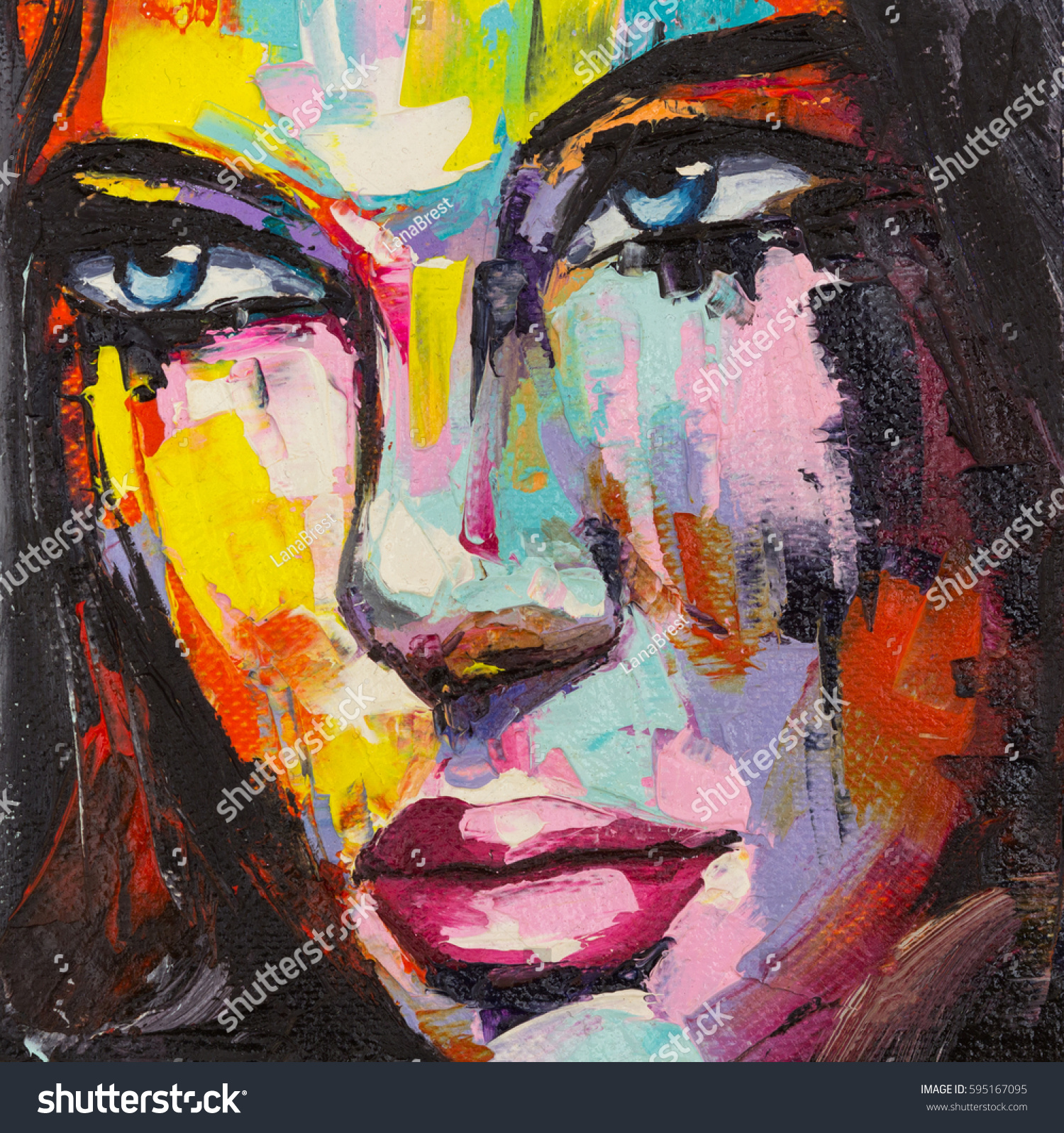 Fantasy woman colorful portrait abstract pop stock for Different types of abstract art