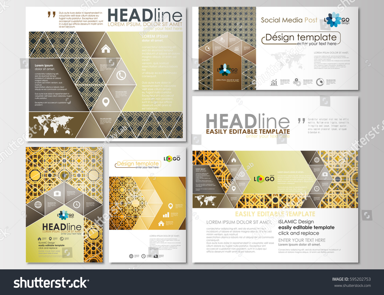 social media posts set business templates stock vector 595202753 shutterstock. Black Bedroom Furniture Sets. Home Design Ideas