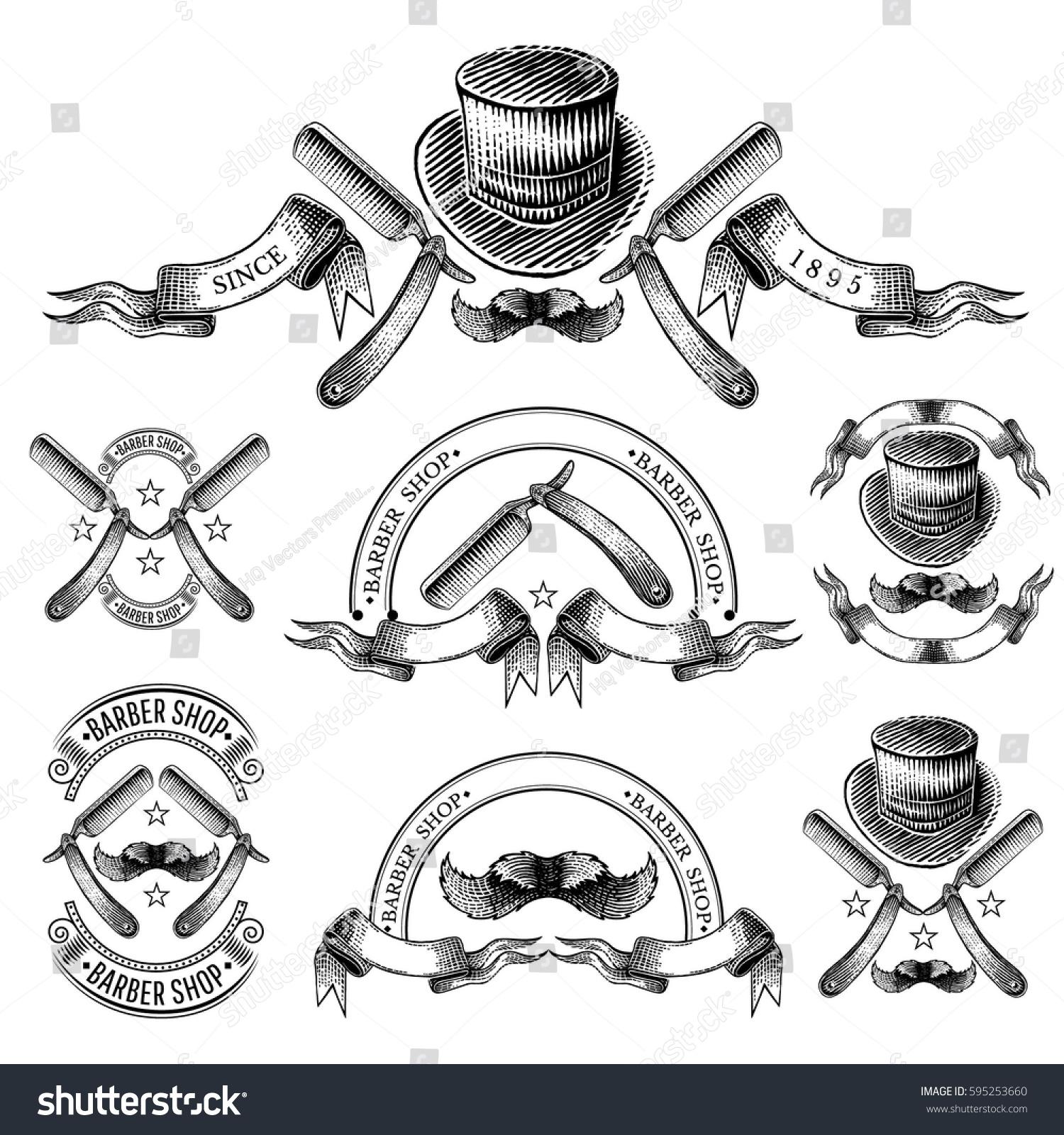 set banners hat razor mustache ribbons stock vector 595253660