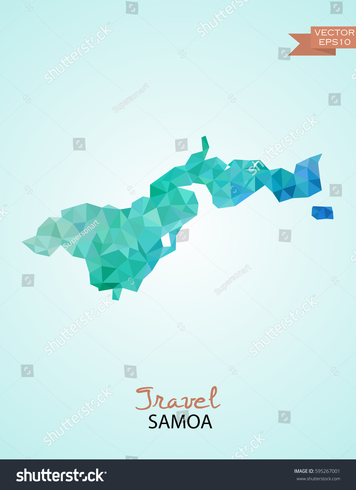 Poly Map Samoa State Isolated On Stock Vector Shutterstock - Samoa map vector