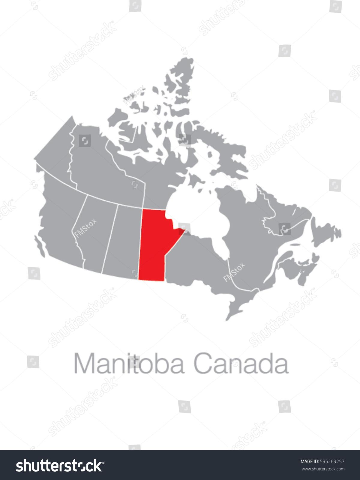 vector map canada highlighting province manitoba stock vector 595269257 shutterstock