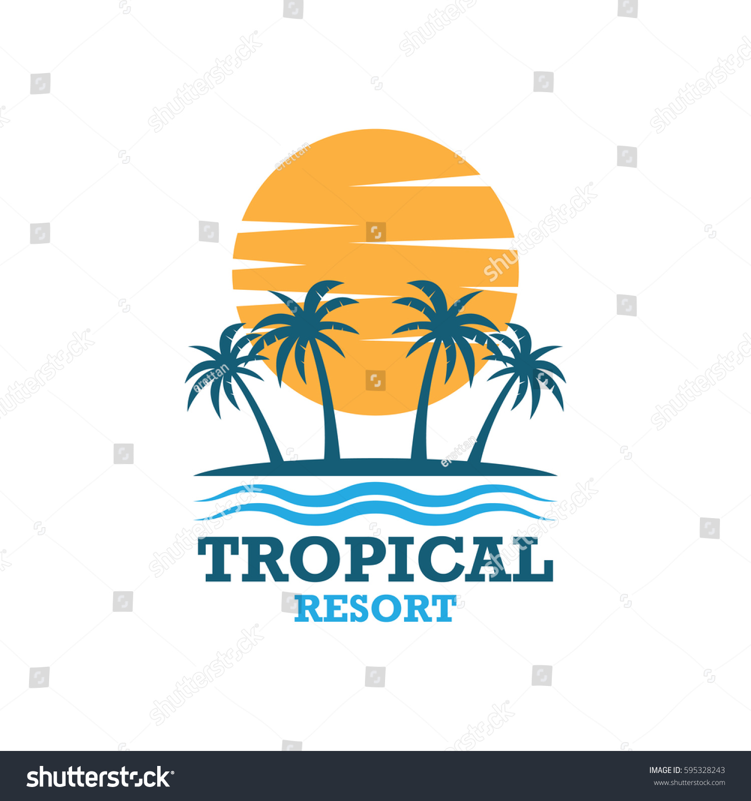 Beach Resort Summer Theme Logo Design Stock Vector 595328243