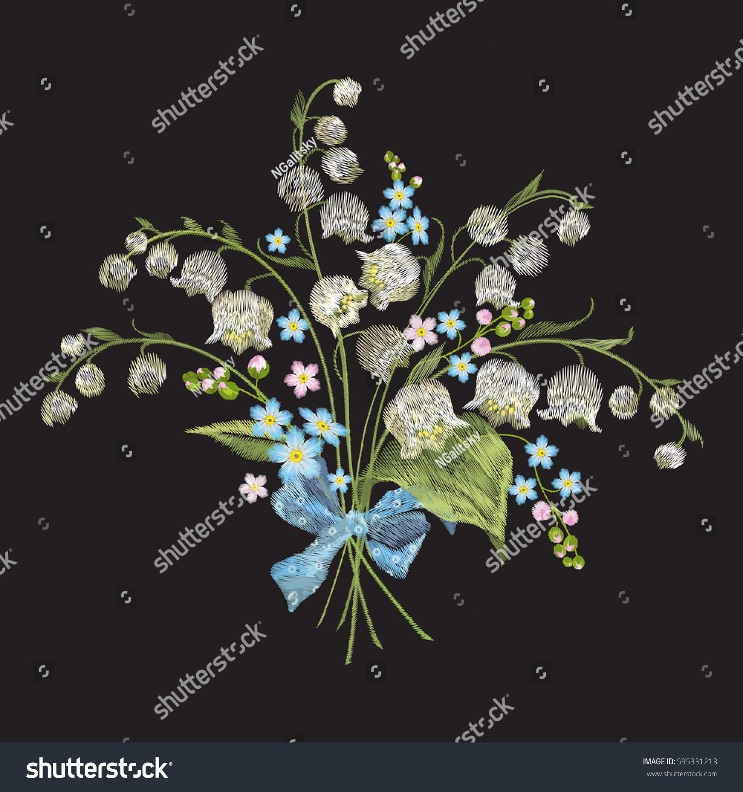 Embroidery Colorful Floral Pattern Lilies Valley Stock Vector