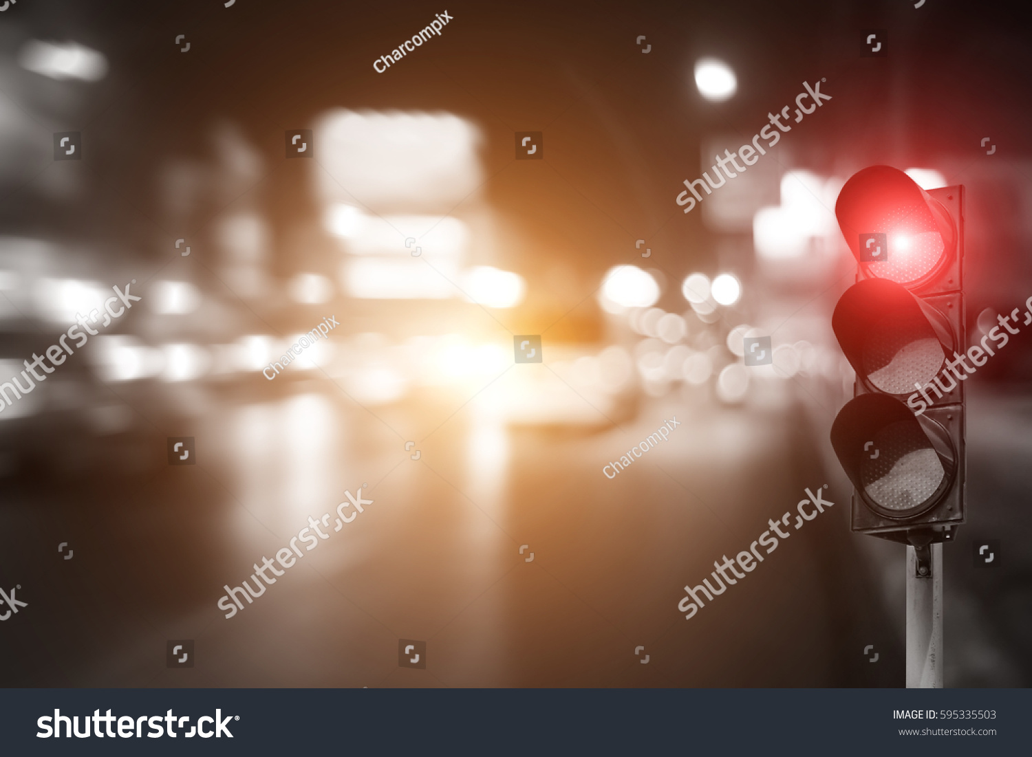 Red Traffic Light On Road Night Stock Photo 595335503 - Shutterstock for Traffic Light On Road At Night  45gtk