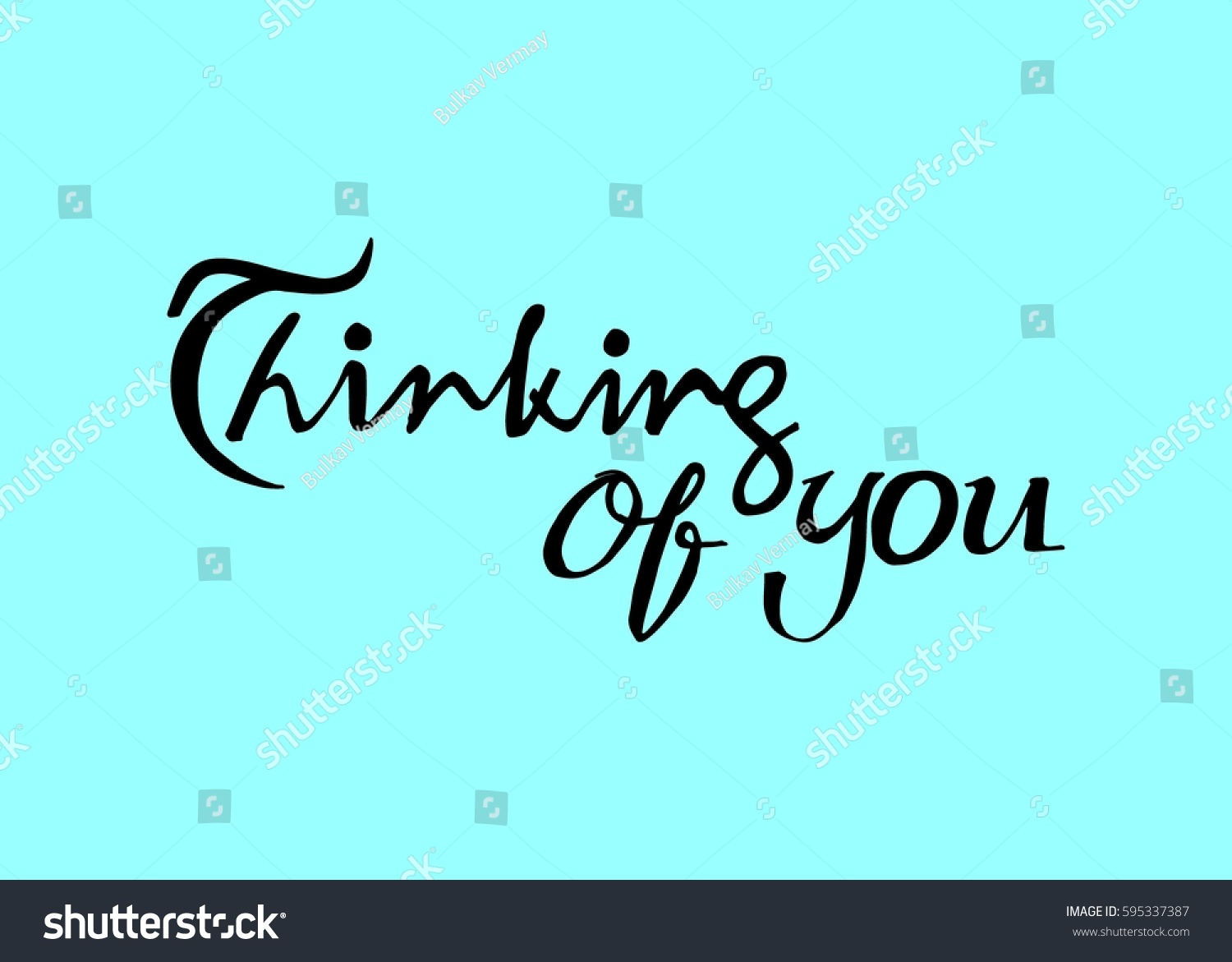 Thinking you hand lettered quote modern stock vector