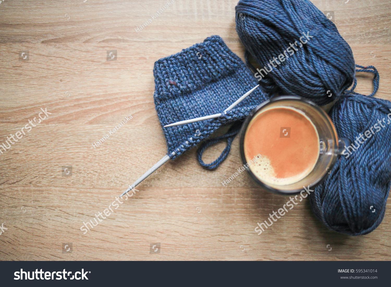 Knitting Needles Blue Yarn Black Coffee Stock Photo Edit Now 595341014