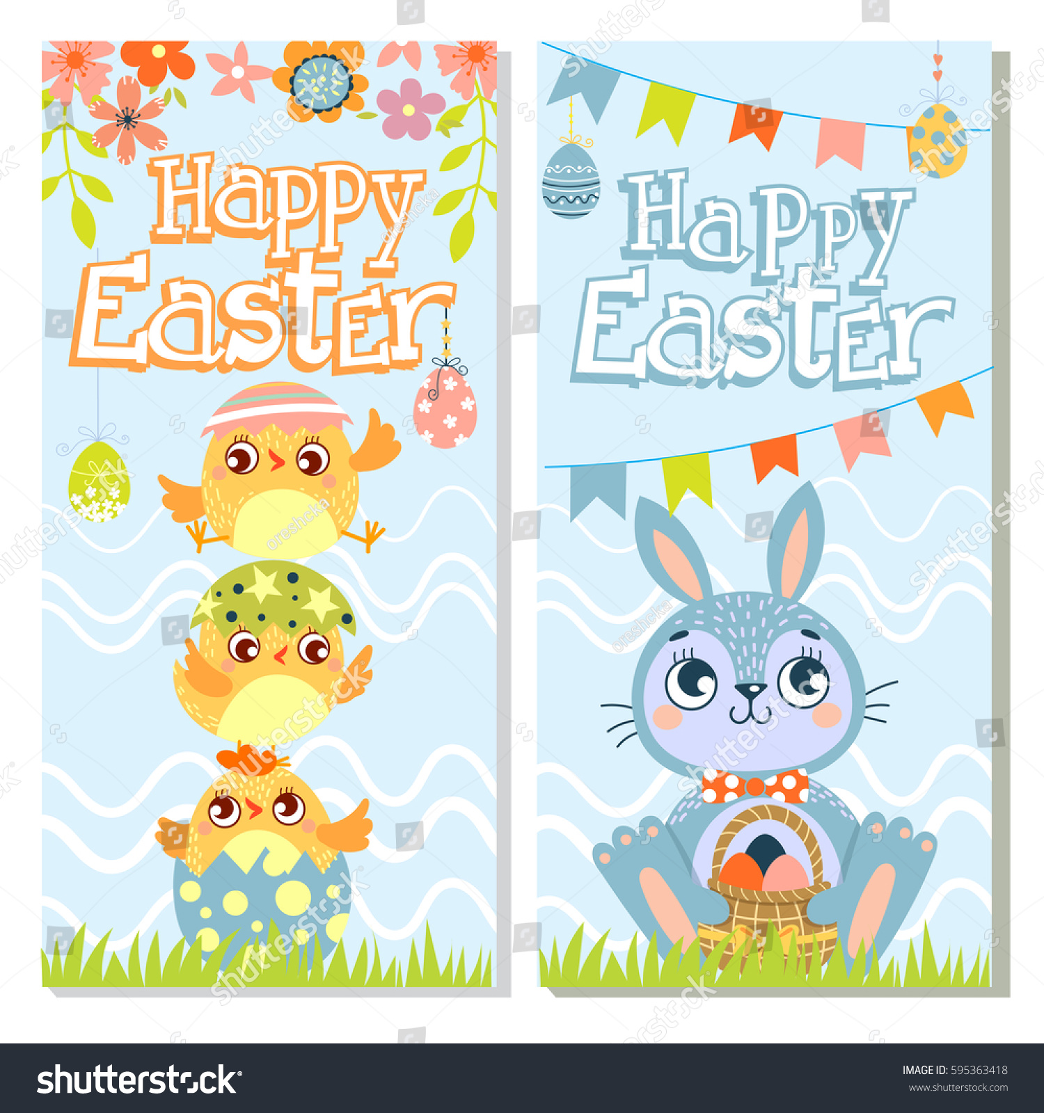 Set Of Happy Easter Greeting Cards Rabbitchicken And Eggs Vector