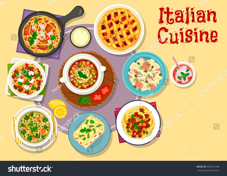 Italian cuisine lunch dessert icon pasta stock vector - Italian cuisine pasta ...