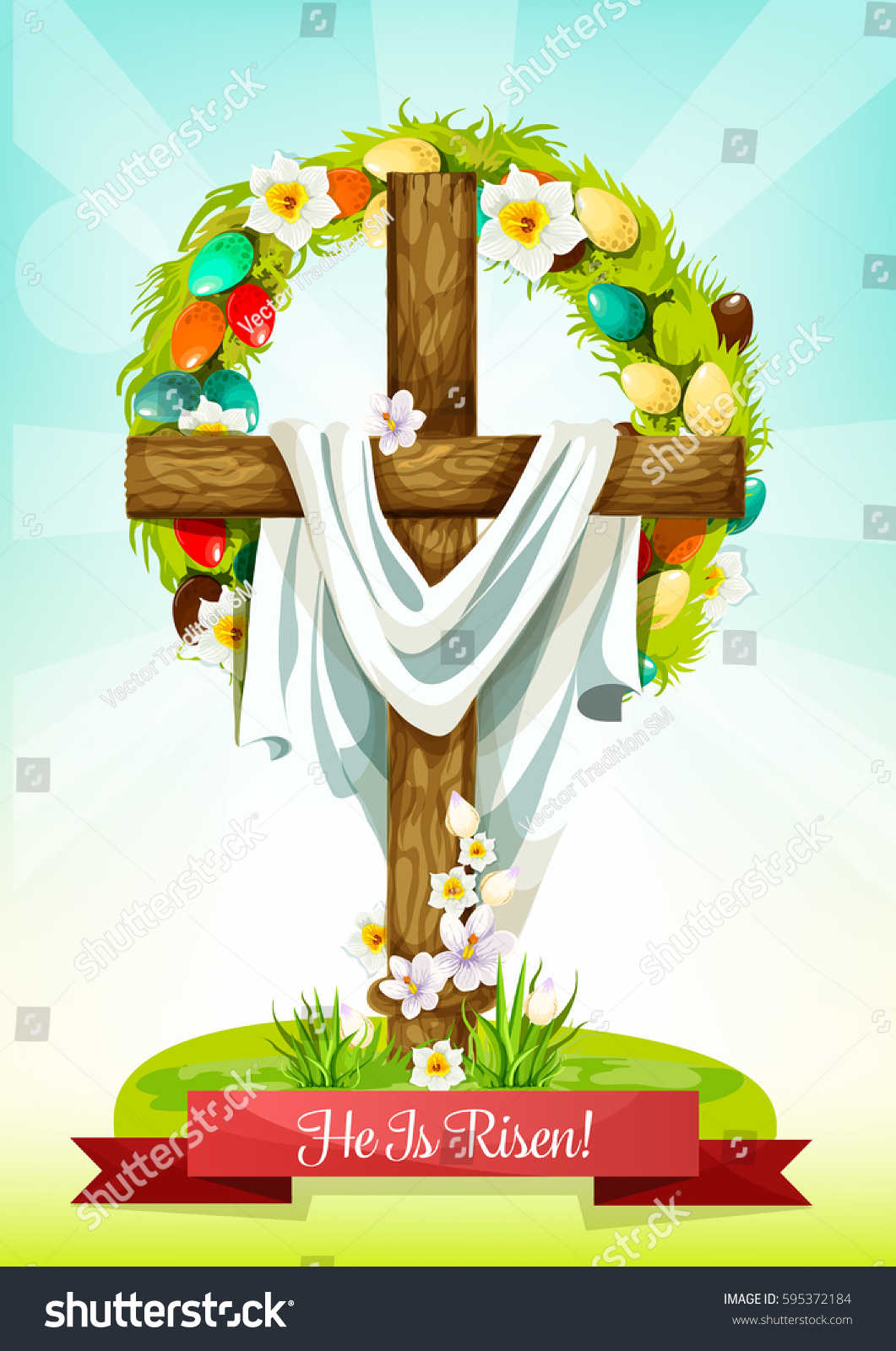 Easter Sunday Cross Flowers Greeting Card Stock Vector Royalty Free