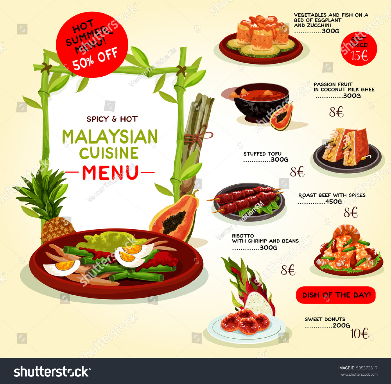 Malaysian cuisine restaurant menu template asian stock for Asian cuisine menu