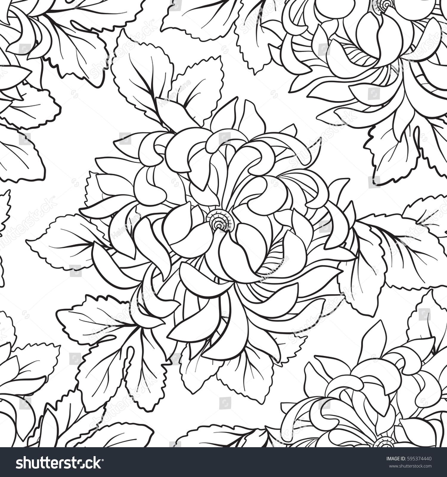 Seamless Pattern Chrysanthemum Japanese Style Outline Stock Vector