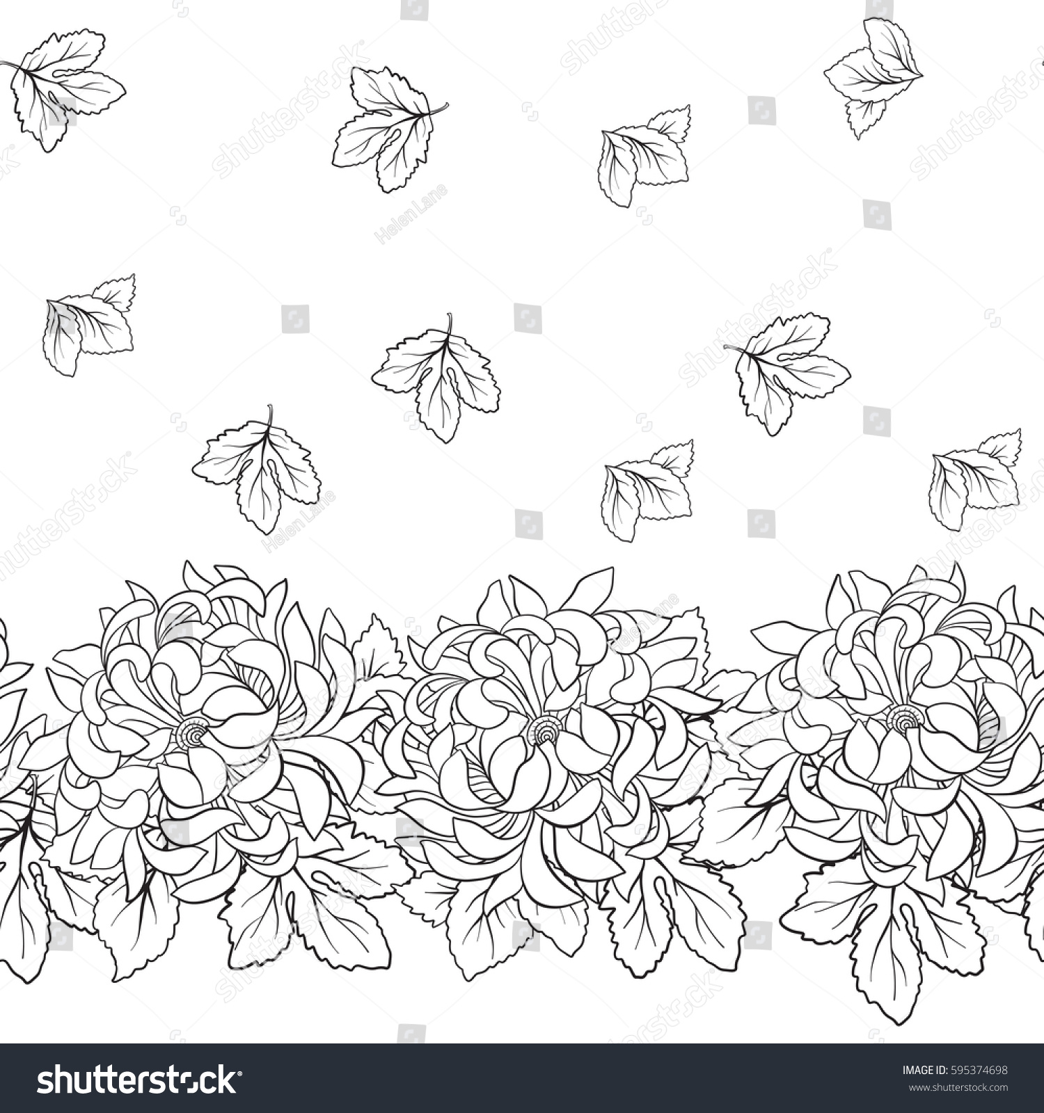Seamless Pattern Chrysanthemum Japanese Style Outline Stock Vector ...